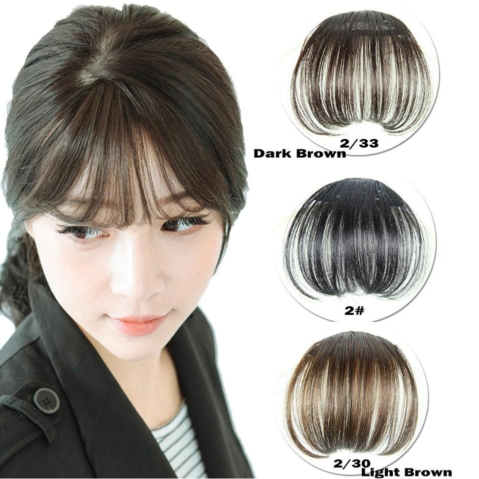 New Fashion Women Black Beauty Hair Clip In Bangs Fake Hair Extension False Piece On Front Neat