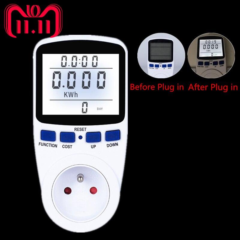FR Plug Numérique Compteur D'énergie Wattmètre Analyseur D'énergie avec Rétro-Éclairage Électronique Wattmètre Record Volt Tension Outlet Socket
