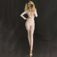 Sexy White Jumpsuit Costume One piece Nightclub Dancer Outfit Party Wear Singer Rompers Stage Performance Clothing DNV10822