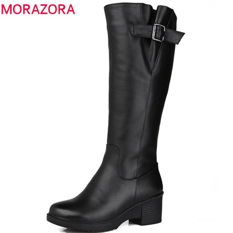 MORAZORA 2018 top qualité genou haute bottes femmes en cuir véritable laine bottes haute talons plate-forme chaussures d'hiver garder au chaud neige bottes
