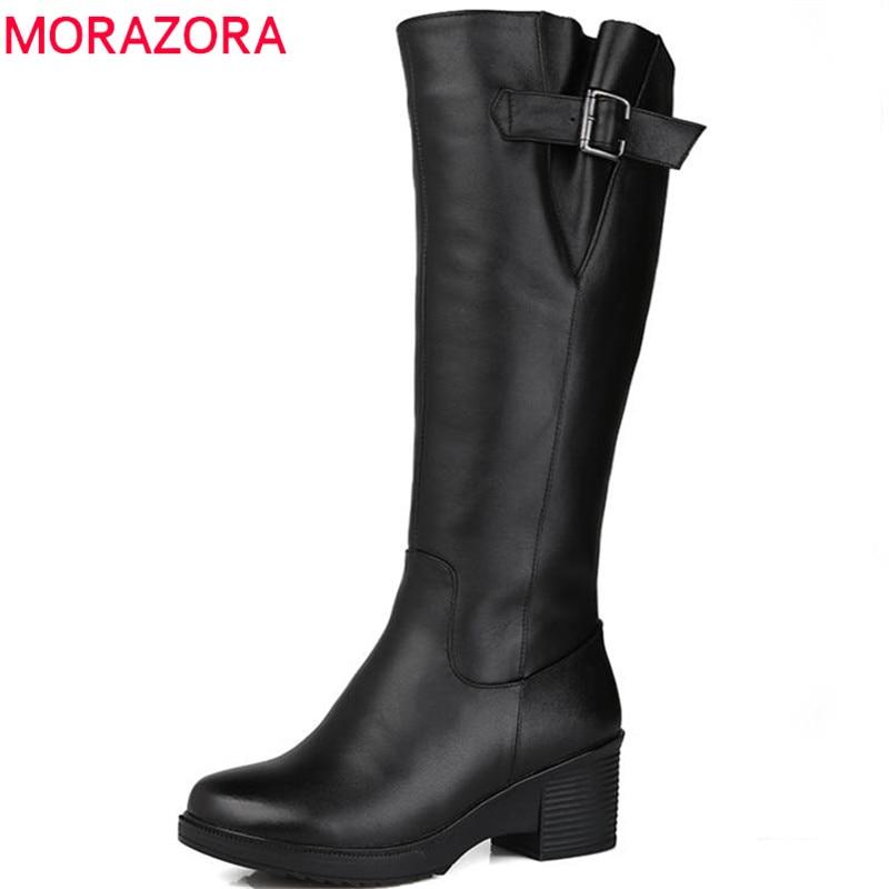 MORAZORA 2018 top quality knee high boots women genuine leather wool boots high heels platform shoes winter keep warm snow boots стоимость