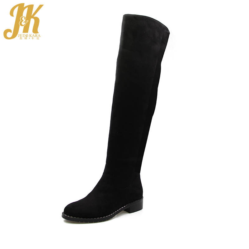 J&K 2017 Warm 650g Thick Plush Over the Knee Boots for Women Winter Shoes Flock Zipper High Quality Thigh High Boots Winter