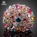 АЗОРА Великолепная Роуз Позолоченные Многоцветный Stellux Австрийский хрусталь Кольцо TR0102