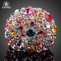 AZORA Gorgeous Rose Gold Plated Multicolour Stellux Austrian Crystal Ring TR0102