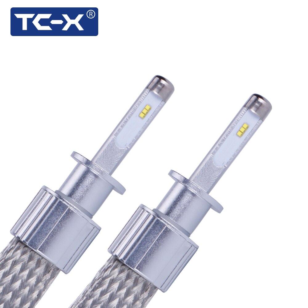 TC-X 1 paire H1 H4 H11 9005 9006 9012 H7 LED Phares 7000LM Par Ensemble De Cuivre Tressage HID Ampoule D'origine Remplacement LED Voiture Lumière