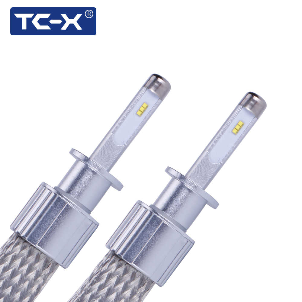 TC-X 1pair H1 H4 H11 9005 9006 <font><b>9012</b></font> H7 <font><b>LED</b></font> Headlights 7000LM Per Set Copper Braiding HID Original Bulb Replacement <font><b>LED</b></font> Car Light image
