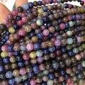 """Natural Genuine Multi Color-Vermelho Roxo Azul Safira Rubi Rodada Contas Loose 4-18mm Jóias DIY Colares ou Pulseiras 15 """"04072"""