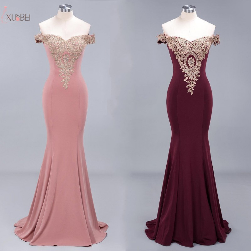 Real Photo 2019 Pink Burgundy Mermaid Satin Long   Bridesmaid     Dresses   Off The Shoulder Gold Applique Wedding Party   Dress   Guest