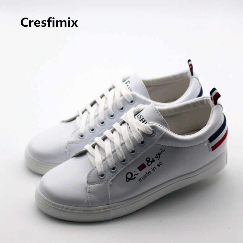 Cresfimix women casual pu leather white flat shoes female cool & leisure lace up shoes female comfortable round toe shoes zapato cresfimix women cute soft pu leather lace up spring flat shoes female casual dark brown summer loafers lady comfortable shoes