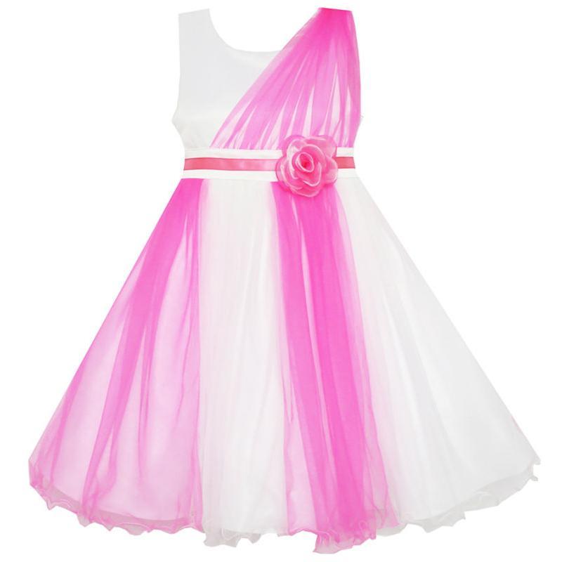 Mädchen Kleid Elegant Brautkleid Brautjungfer Tüll Blume 2019 - Kinderkleidung - Foto 1
