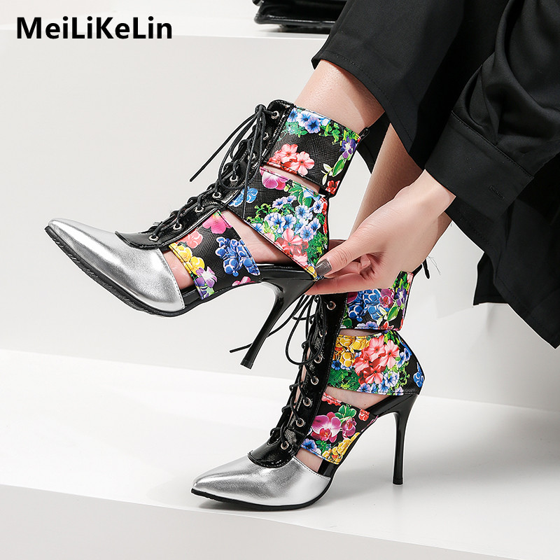 011b0063f0f639 MeiLiKeLin Printed leather ankle boots sexy fashion lace-up Hollow out high  heels booties riding