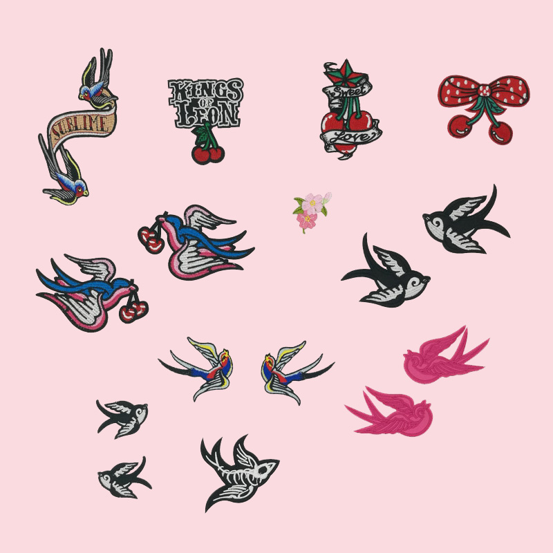 Pair of Black Pink Swallows Embroidered Iron Sew On Patches T Shirt Birds Badges