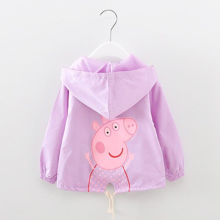 Children Spring Coat Little Girl Print Cartoon Pig Jacket Long Sleeved Outerwear Tops Kids Child Cotton