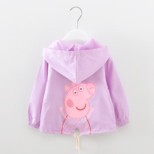 Children Spring Coat Little Girl Print Cartoon Pig Jacket Long Sleeved Outerwear Tops Kids Child Cotton Hooded Tops Clothes 060