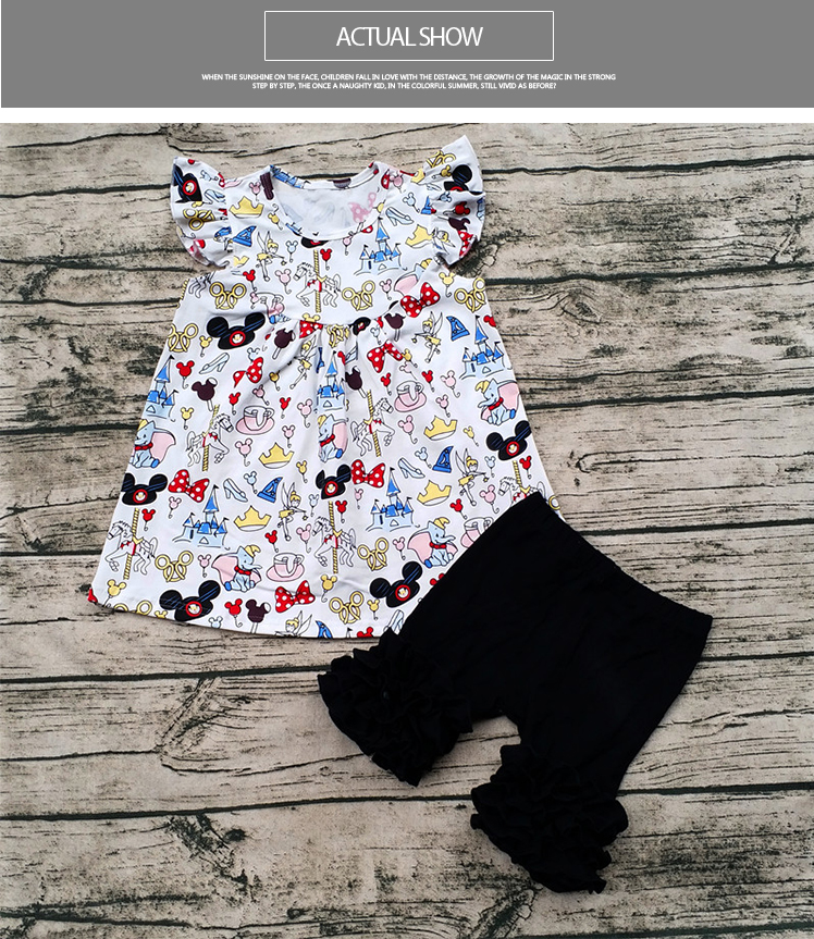 e2bd8ef8991b4 2017 wholesale baby girl flutter mickey pearl top with icing shorts set baby  summer boutique clothing