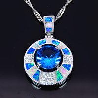New Arrival Trendy Silver Necklace Pendants Blue Fire Opal for Ladies biggest Surprise Party Gift for Women PJ16011705 2