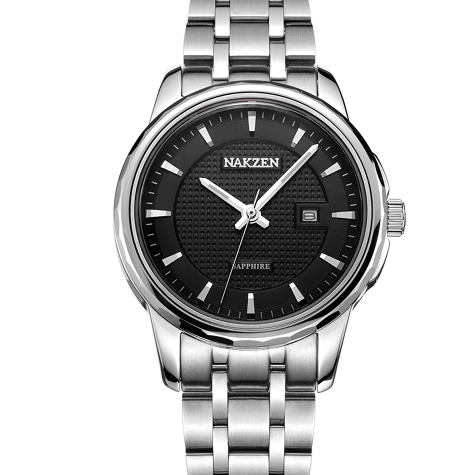 NAKZEN Brand Luxury Tungsten Steel Simple Design Black Business Sapphire Crystal Mirror font b Watch b