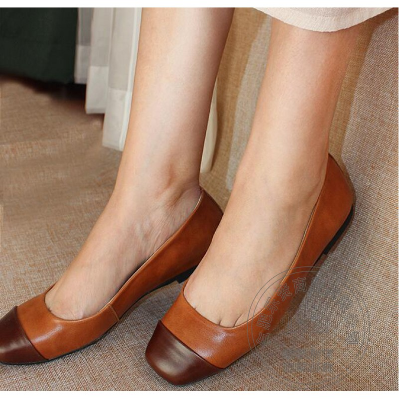 ФОТО Most Popular Genuine Leather Loafers Women Low Cut Uppers Short Plain Bronze Slip On Shoes For Women Soft Leather Appealing
