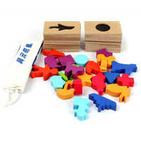 Wooden Blocks Educational Toys For Children Shadow Memory Bricks Kids juguetes Montessori Materials Matched Images Wooden Toy