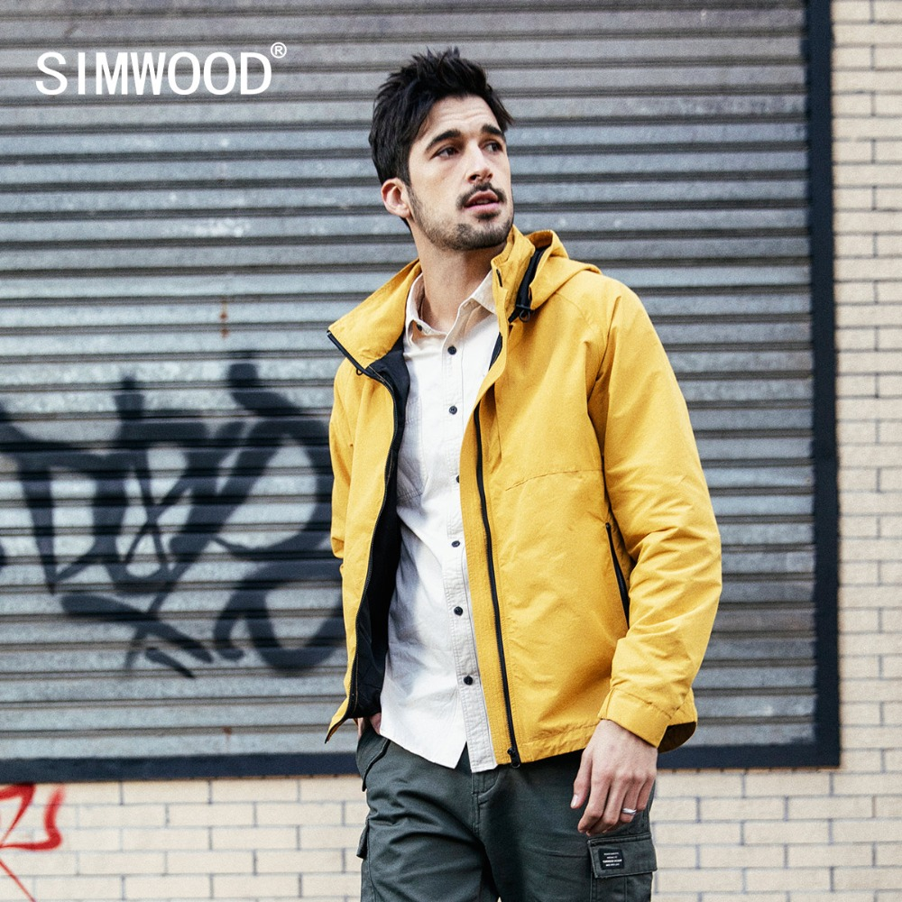 SIMWOOD 2020 Spring Jacket Men Fashion Yellow New Hooded Casual Jacket Streetwear Windbreaker Plus Size Brand Clothing 190069