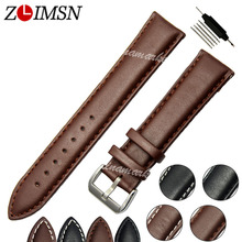 Watchbands Black Brown Leather Watch Strap Band Genuine Soft Buckle Wrist Replacement Fits Mens Relojes Hombre 2016 18 20mm 26mm