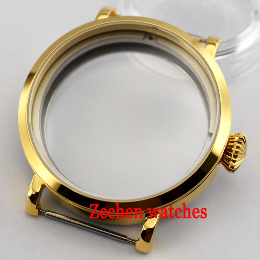 Corguet 46mm fit parnis mens watch For ST 3600/3620 ETA 6497/6498 Movement Gold Steel Watch Case цена и фото