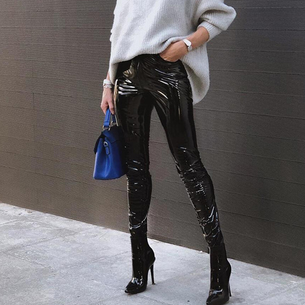 Sexy leather pants Women Solid Color Slim Fit Bodycon leggins Sexy high waist pencil Pants streetwear clubwear Trousers 2018