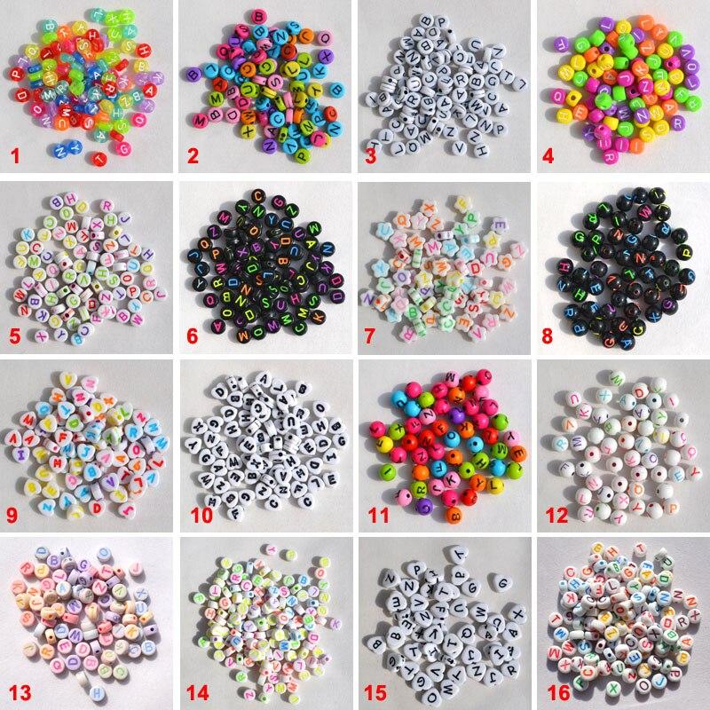 Forma de coração plana 7mm misturado colorido acrílico carta contas para diy alfabeto moda jóias pulseiras mão fazendo 100 pçs 30 estilos