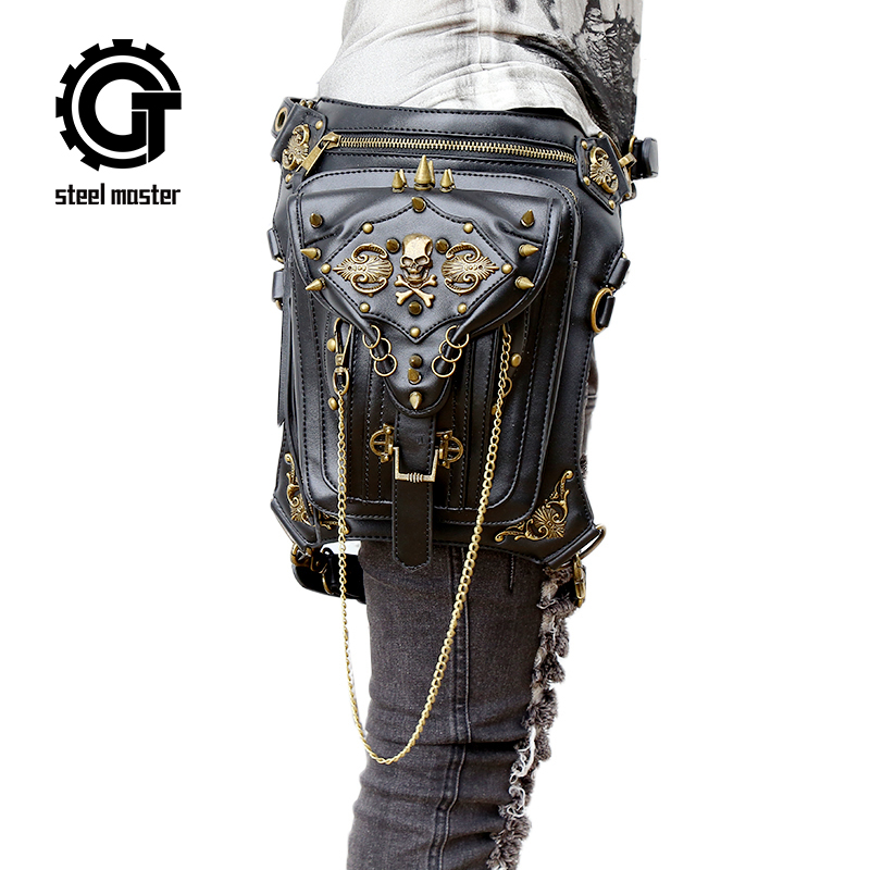 Fashion Gothic Steampunk Skull Retro Rock Bag Men Women Waist Bag Shoulder Bag Phone Case Holder Vintage Leather Messenger Bag