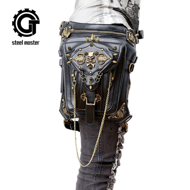 Fashion Gothic Steampunk Skull Retro Rock Bag Men Women Waist Bag Shoulder Bag Phone Case Holder Vintage Leather Messenger Bag