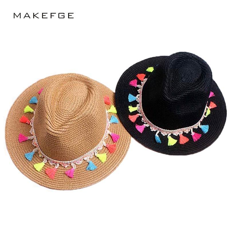 2017 Kvinnlig sommar strand sol hatt mode godis kant jordgubb jazz panaman hatt strand sol hatt Fedora Trilby svart och vit hatt