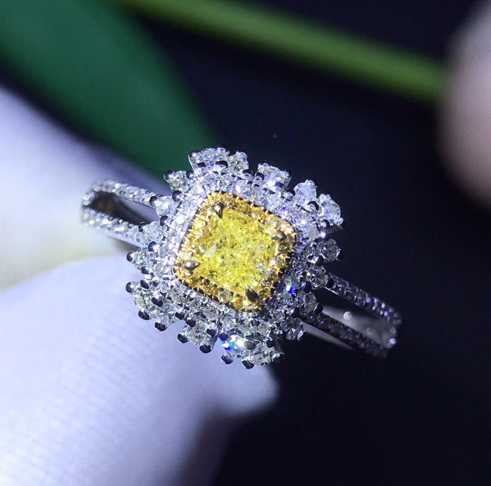 Fine Jewelry Real 18K 0.22ct Facny Light Yellow Diamond Wedding Engagement Female Rings for Women Fine Diamonds RingFine Jewelry Real 18K 0.22ct Facny Light Yellow Diamond Wedding Engagement Female Rings for Women Fine Diamonds Ring