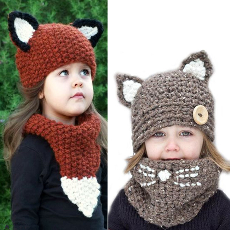 Funny Cute Fox Handmade Children Winter Hat 2pcs/Set 2018 New Cartoon Animal Knitted Hats Boy Girl Warm Knitted Scarf Hats Gift