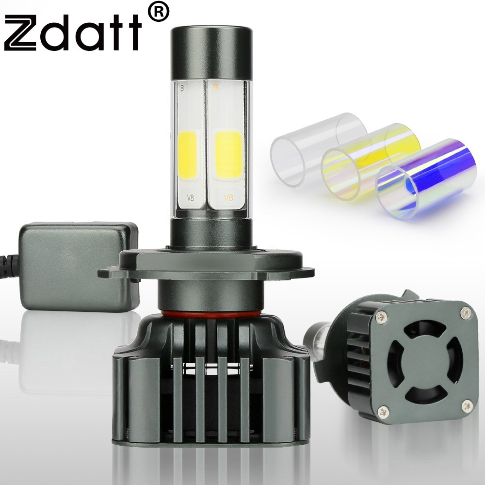 Zdatt Super Bright H4 Led Bulb 100W 12000LM Car Led Headlights H7 H8 H9 H11 9005 HB3 12V Fog Lamp Automobiles Canbus 3 Colors 9005 blue film super bright car halogen bulb for headlight with high quality drop shipping