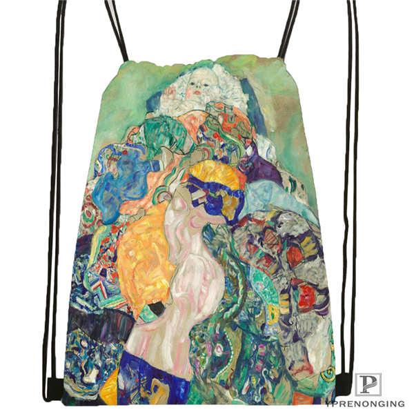 Custom Gustav_Klimt @3 Drawstring Backpack Bag Cute Daypack Kids Satchel (Black Back) 31x40cm#20180611-02-98