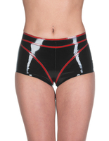High Quality Customized Latex rubber underwear latex short tight fitting rubber shorts featuring a V shape motif