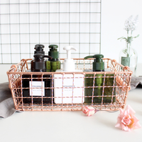 1 PCS Nordic rose gold storage basket desktop books magazine cosmetics storage box AP10231658