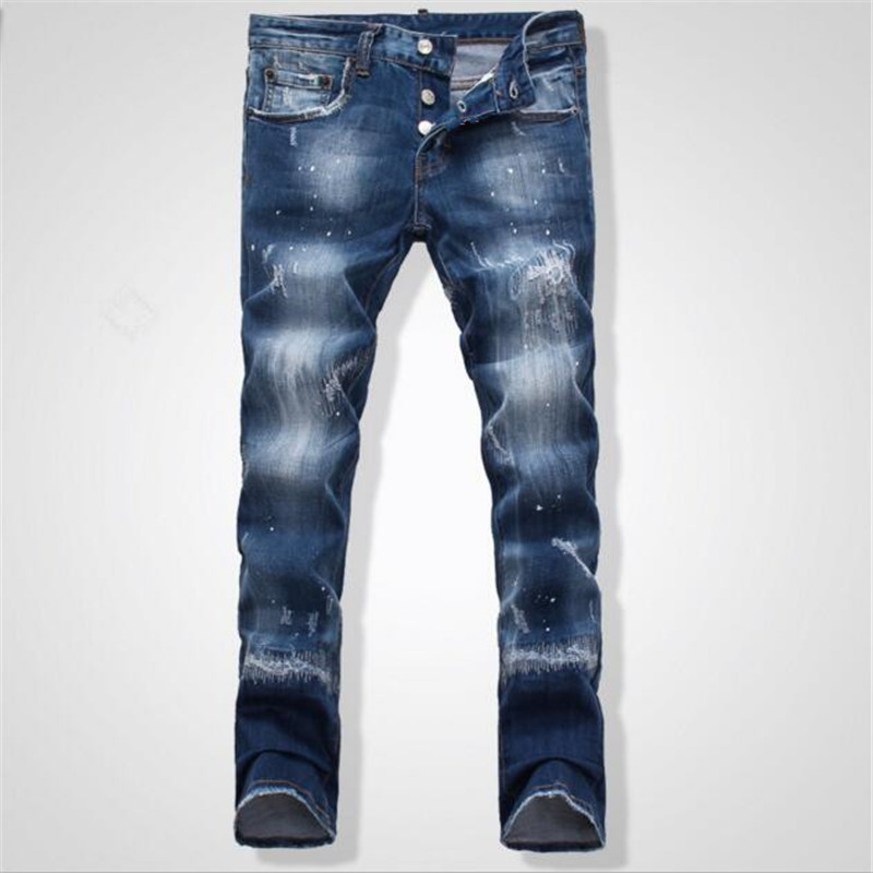 ФОТО 2017 New Men Jeans Fashion Popular Jeans Male Low Rise Tight Jeans D Nightclub Patch Leisure Slim Beggar Denim Casual Pants