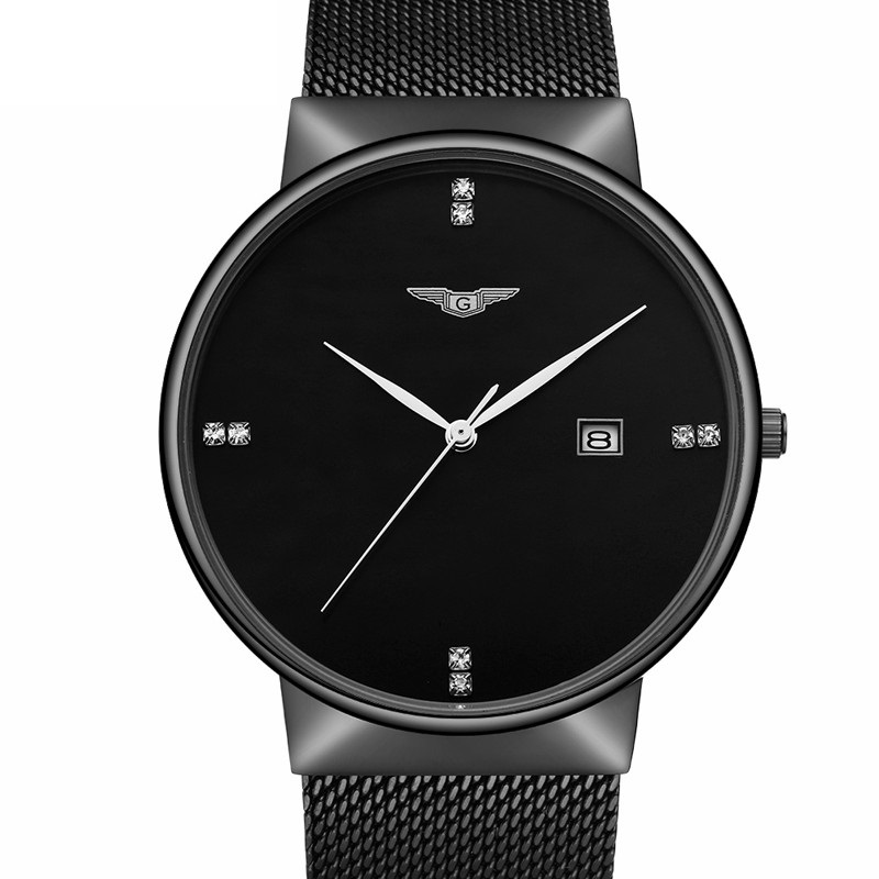 relogio masculino GUANQIN Luxury Brand Simple Men's Fashion Mesh Band Quartz Watch Men Business Full Steel Waterproof Wristwatch byblos толстовка для девочки bj5928 разноцветный byblos