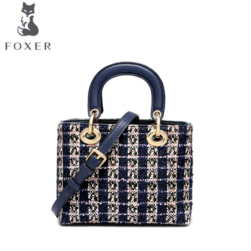 FOXER New women Leather bag luxury handbags women famous brand Simple Polyester material fashion women leather shoulder Bag foxer 2018 new women leather bag retro fashion luxury handbag women famous brand leather material women leather crossbody bag