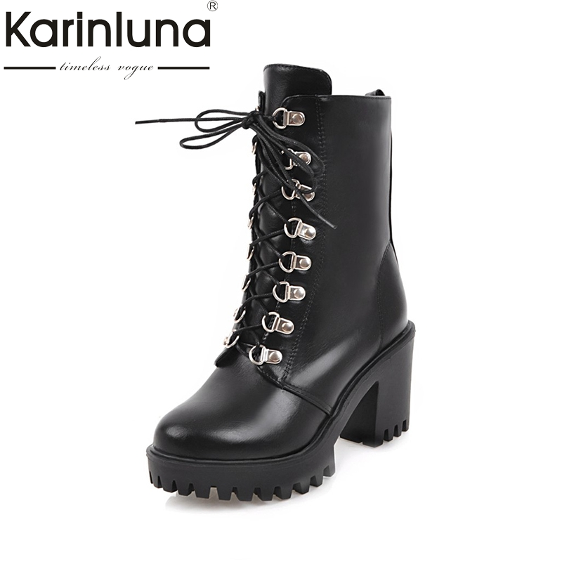 KARINLUNA 2017 Large Size 34-43 Platform Black Women Shoes Woman Lace Up Square High Heels mid-calf Boots Winter Casual Bottine цены онлайн