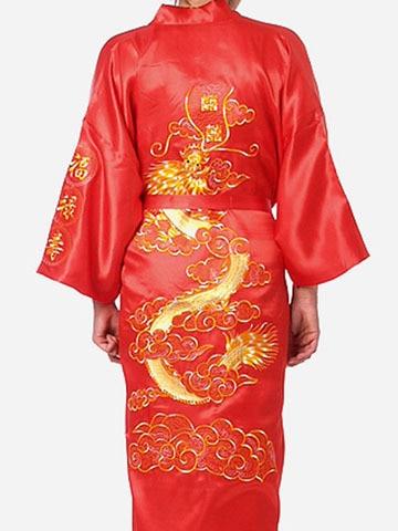 Red Traditional Chinese Men Satin Robe Embroidery Kimono Bath Gown Dragon Hombres Pijama Size S M L XL XXL XXXL MR082