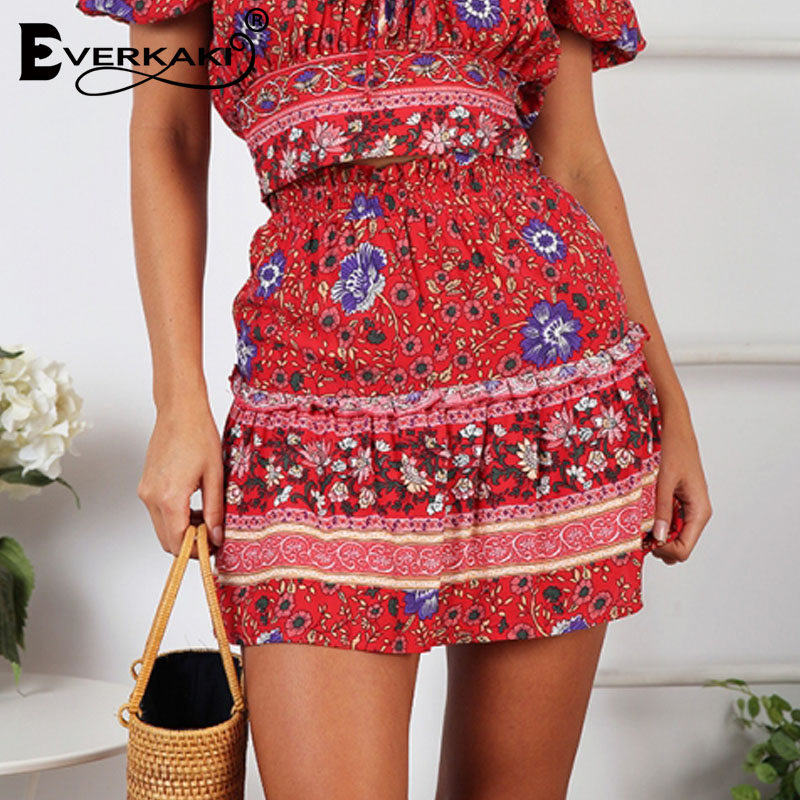 bb51165991 Everkaki Boho Mini Floral impresión falda mujeres falda gitana con volantes Falda  corta cintura alta Mujer Faldas Mujer 2019 Primavera Verano nuevo