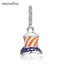 9476508ac4e Authentic 925 Sterling Silver Charm Uncle Sam Flag High Hat Bead Charms  Dangle Pendant Fit Pandora Bracelets Women DIY Jewelry