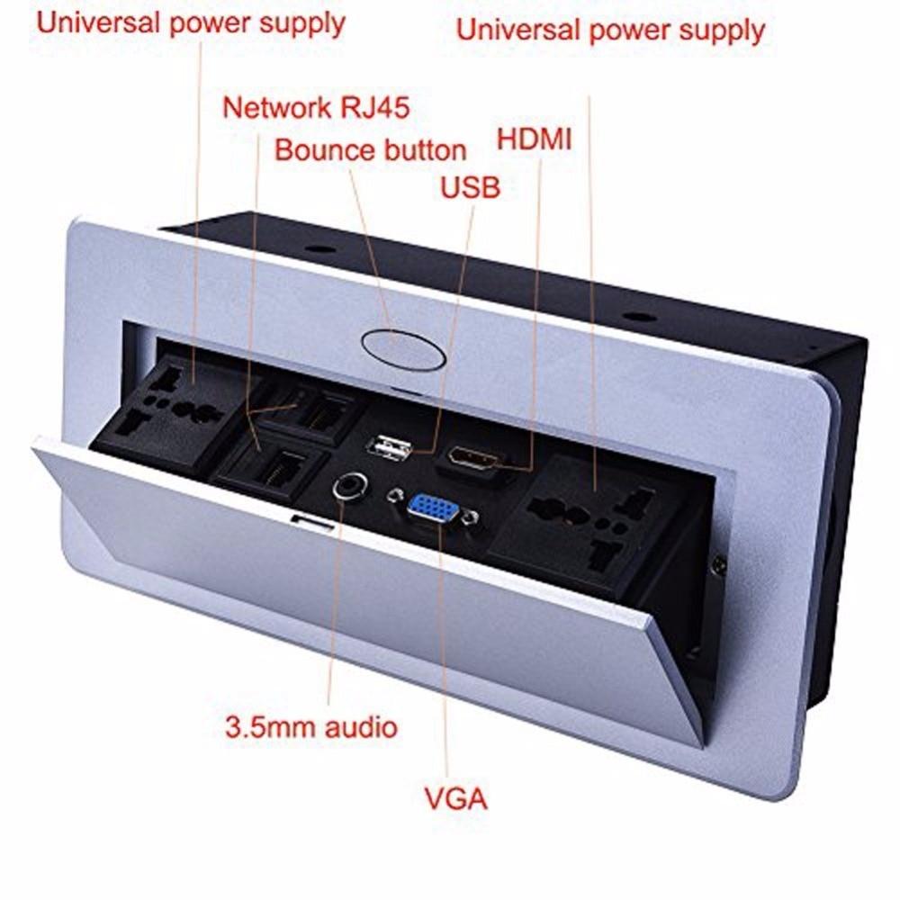 Multi Outlets Pop Up Desktop Socket Spring Damping VGA HDMI 3.5 ...