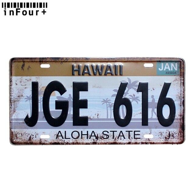Hawaï JGE616-Plaque dimmatriculation de voiture en métal | Vintage, décor de maison, signe de mur de maison en métal, Plaque métallique Cool