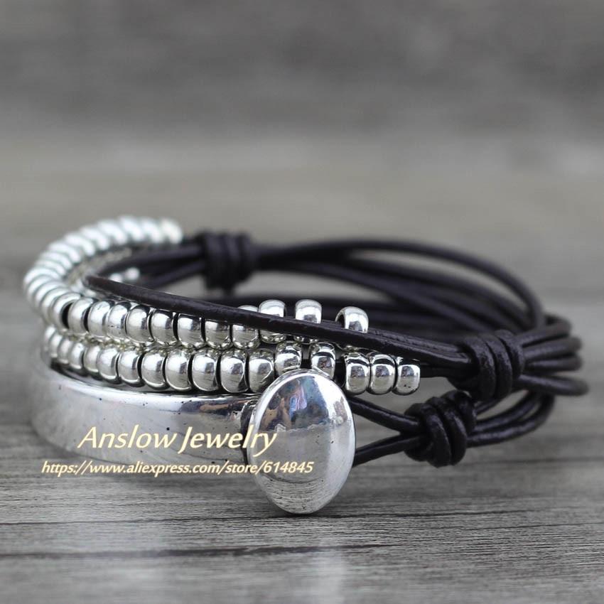 Anslow Brand Bohemian Vintage Handmade Multilayer Wrap Jewelry Gratë Dita e Nënës Ditëlindja Byzylyk lëkure Bangle LOW0465LB