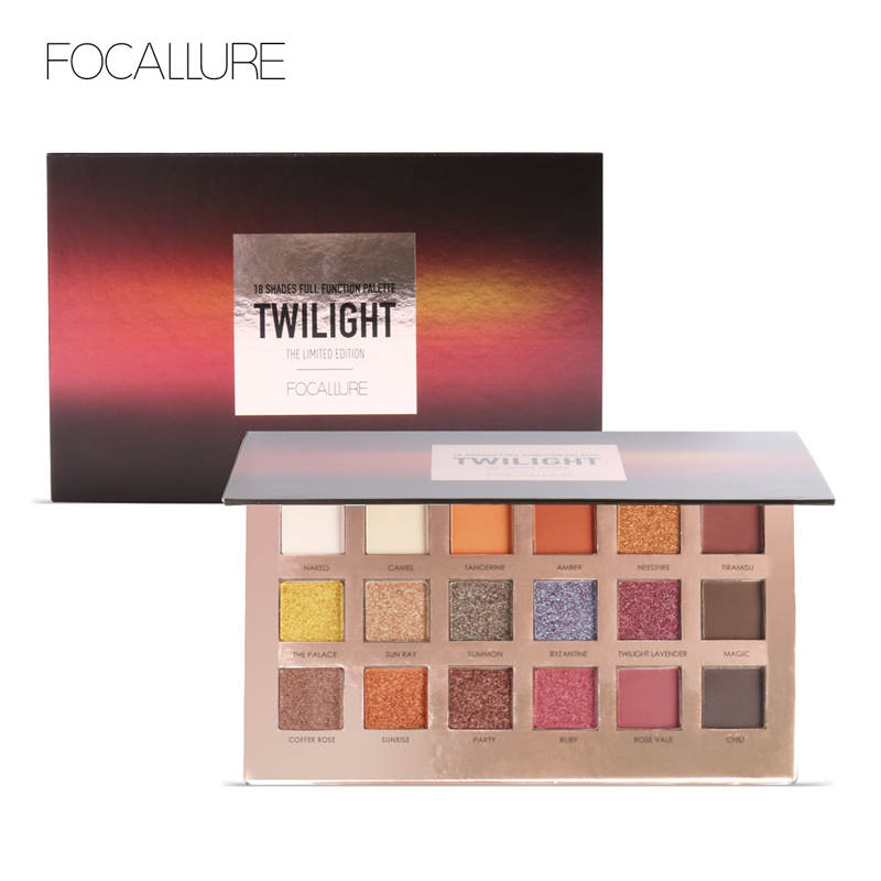 FOCALLURE 18Pcs Highly Pigmented Glitter Eye Shadow Flash Shimmer Eyeshadow With Matte Colors Easy To Wear
