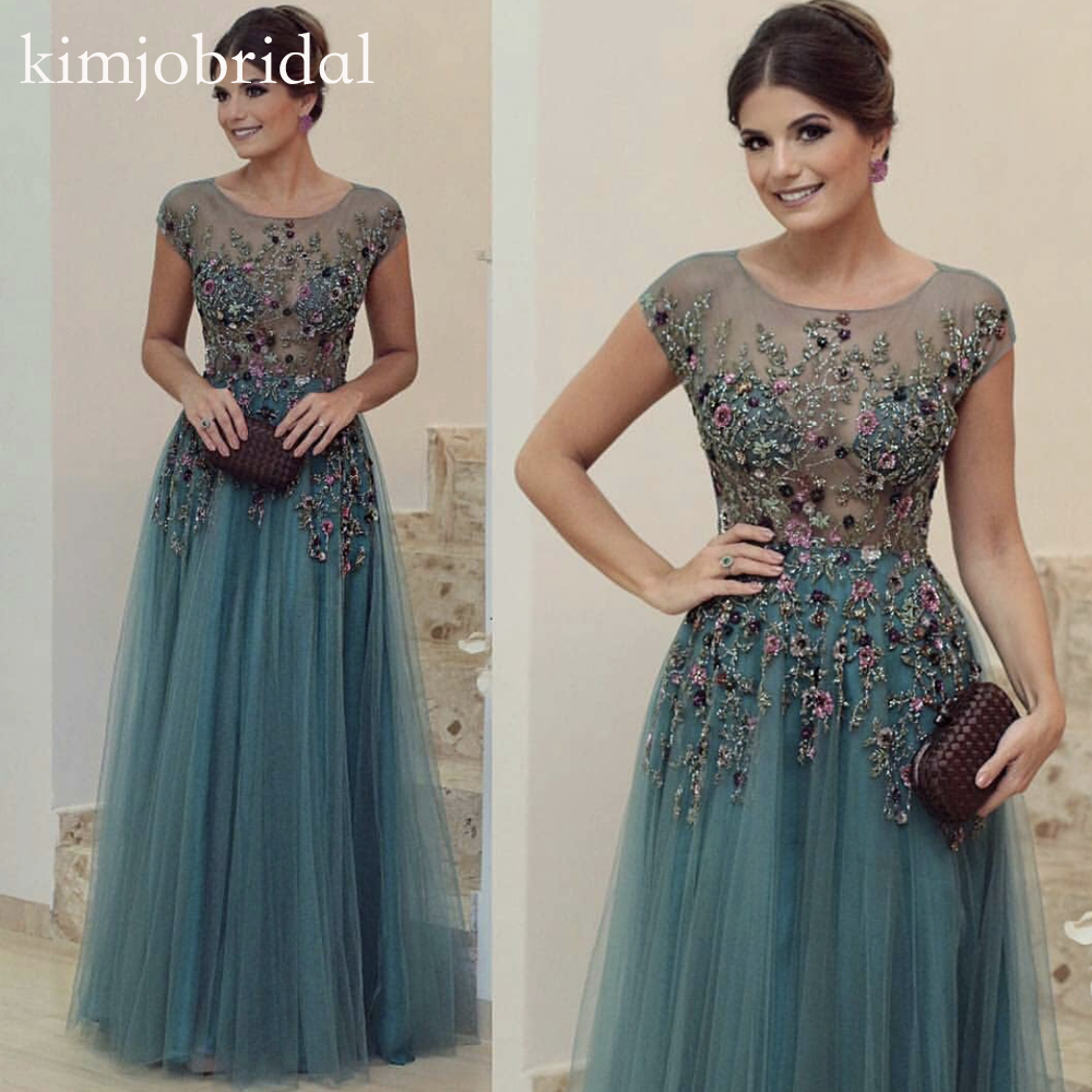 Green Prom Dresses Embroidery Beaded Cap Sleeve Flowers Tulle A Line Evening Dresses Fashion Party Dresses 2019
