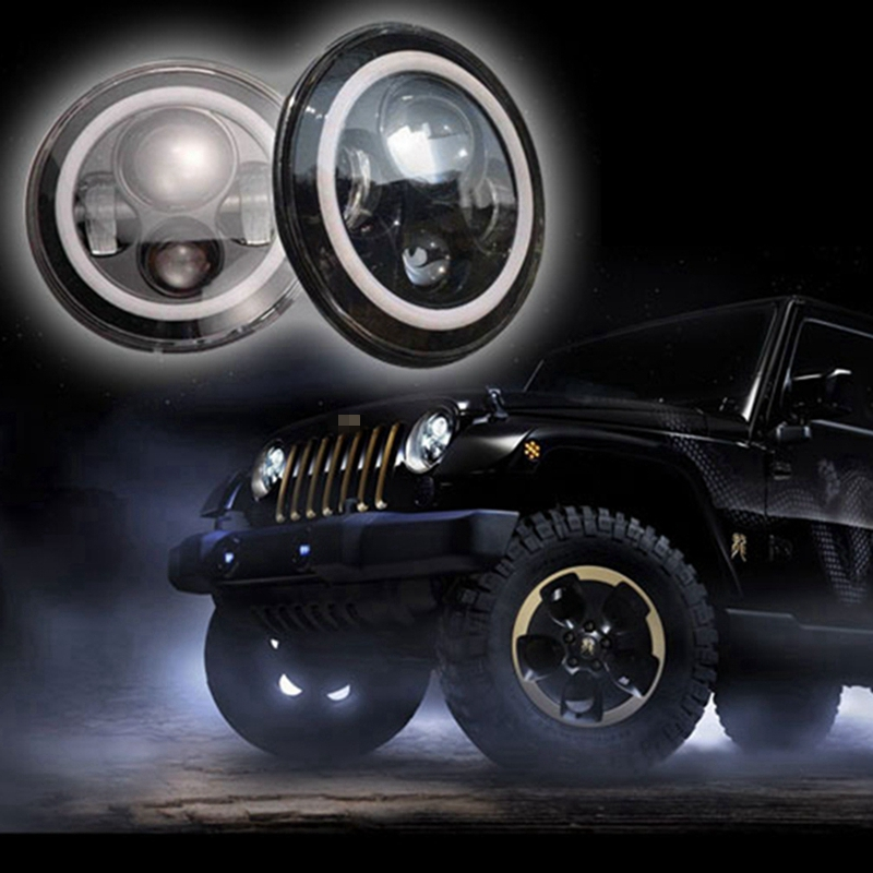 Two pieces 7 Inch Round LED Headlights Amber Turn Signal White Day Runing Light Car Led Headlight for jeep